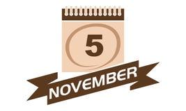 5. November Kalender mit Band Stockfoto