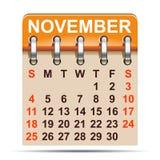 November-kalender van het jaar van 2018 - vector royalty-vrije illustratie