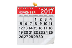 November 2017 Kalender, Wiedergabe 3D Lizenzfreie Stockfotografie