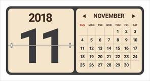 November 2018 Kalendervektorillustration stock abbildung