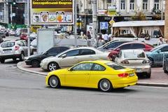 November 3, 2013. Kiev, Ukraine; BMW ALPINA B3 3.0 BiTurbo in motion at high speed stock photos