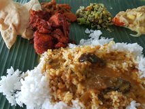 11. November 2016 Kuala Lumpur Bananen-Blatt-Reis für Abendessen Lizenzfreie Stockfotografie