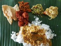 11. November 2016 Kuala Lumpur Bananen-Blatt-Reis für Abendessen Lizenzfreies Stockfoto