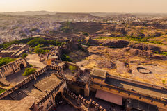 05 november, 2014: Landschap rond het Mehrangarh-fort in Jodhp Royalty-vrije Stock Fotografie