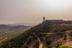 04 november, 2014: Landschap rond het Nahargarh-fort in Jaipur Stock Foto