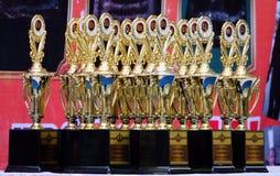 18-november-2018 LATKABANG THAILAND Gouden trofee Tref voor de begaafde persoon voorbereidingen en win de baan stock afbeelding