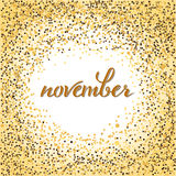 November lettering. Brushen lettering of november. Autumn month calligraphy in black ink, glitter. Template for calendar, postcard, print design and banner Royalty Free Stock Photo