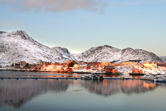 November mirrors of Ballstad in Lofoten Royalty Free Stock Image