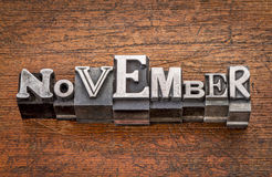 November month in metal type Stock Photography