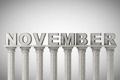 November month sign on a classic columns Stock Photos