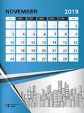 NOVEMBER 2019 Month template, Desk Calendar for 2019 year, week start on sunday, planner. Stationery, Blue Concept, vertical layout vector illustration Royalty Free Stock Photo