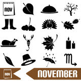 November month theme set of simple icons Stock Image