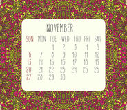 November 2016 monthly calendar. November 2016 vector monthly calendar over lacy doodle hand drawn background, week starting from Sunday Stock Photos