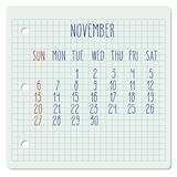 November 2016 monthly calendar Royalty Free Stock Photo