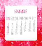 November 2016 monthly calendar. Week starting from Sunday. Contemporary low poly design in pink color Royalty Free Illustration
