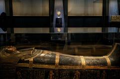 November 2018 Moskva, Ryssland, egyptier Hall i museet, mammasarkofag royaltyfri bild