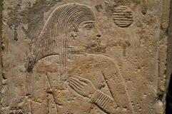November 2018 Moskva, Ryssland, egyptier Hall i museet, väggbasrelief arkivbild
