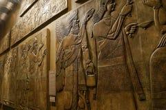 November 2018 Moskva, Ryssland, interfluve korridor, assyria i museet, väggbasrelief royaltyfri bild