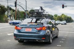 November 20,2017 Mountain View/CA/USA - Mitsubishi Electric Autonomous Driving System Field Testing; Vehicle sporting a roof- royalty free stock photography