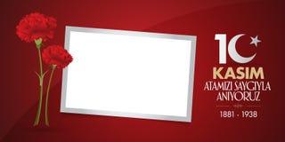 10 November, Mustafa Kemal Ataturk Death Day årsdag Minnesdagen av Ataturk Affischtavladesign stock illustrationer