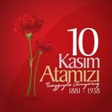 10 November, Mustafa Kemal Ataturk Death Day årsdag Minnesdagen av Ataturk Affischtavladesign royaltyfri illustrationer