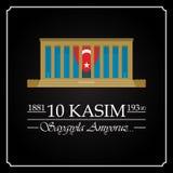 10 November, Mustafa Kemal Ataturk Death Day anniversary. 10 Kasim, Mustafa Kemal Ataturk Olum Yildonumu. Turkish meaning:10 November, Mustafa Kemal Ataturk vector illustration
