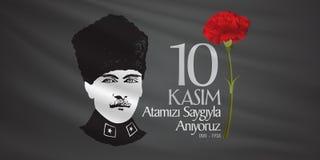 10. November Mustafa Kemal Ataturk Death Day-Jahrestag Volkstrauertag von Ataturk Anschlagtafel-Entwurf vektor abbildung