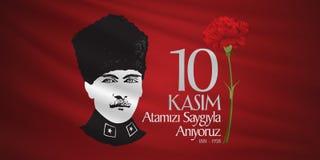 10. November Mustafa Kemal Ataturk Death Day-Jahrestag Volkstrauertag von Ataturk Anschlagtafel-Entwurf lizenzfreie abbildung