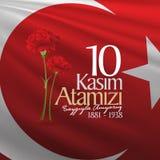 10. November Mustafa Kemal Ataturk Death Day-Jahrestag Volkstrauertag von Ataturk Anschlagtafel-Entwurf stock abbildung