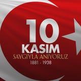 10. November Mustafa Kemal Ataturk Death Day-Jahrestag Volkstrauertag von Ataturk Anschlagtafel-Entwurf TR: 10 Kasim, Atamizi Say vektor abbildung