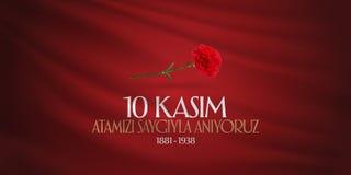 10. November Mustafa Kemal Ataturk Death Day-Jahrestag Volkstrauertag von Ataturk Anschlagtafel-Entwurf TR: 10 Kasim, Atamizi Say stock abbildung