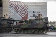 NATO tanks and soldiers at military parade in Riga, Latvia. November 18, 2018. NATO tanks and soldiers at military parade in Riga, Latvia. Celebration of 100 royalty free stock photos