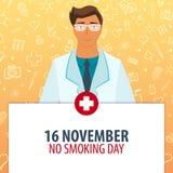 16 November. No Smoking day. Medical holiday. Vector medicine illustration. 16 November. No Smoking day. Medical holiday. Vector medicine illustration royalty free illustration