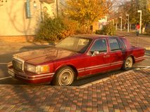 Kiev, Ukraine - November 6, 2018: Old red Lincoln car parked in the city royalty free stock photo