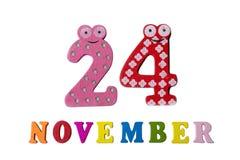 24 november op witte achtergrond, getallen en letters Royalty-vrije Stock Foto's