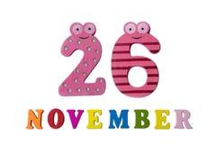 26 november op witte achtergrond, getallen en letters Royalty-vrije Stock Foto's