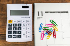 November organizer with calculator Stock Image