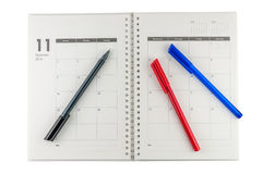 2014 November organizer with pens. Business plan concept stock images