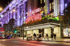 13 November 2014 Oxford Street, London, decorated for Christmas Royalty Free Stock Photo