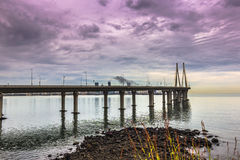 November 15, 2014: Panorama of the Bandra–Worli Sea Link bridg Royalty Free Stock Photo