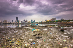 15 november, 2014: Panorama van de kust van Mumbai, India Royalty-vrije Stock Foto