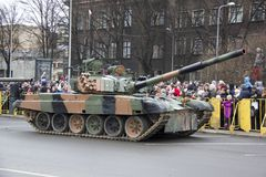 NATO tanks and soldiers at military parade in Riga, Latvia. November 18, 2017. Parade in honor of proclamation of Latvia at November 18 for the Independence Day stock image