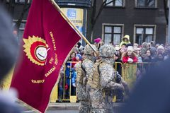 NATO soldiers at military parade in Riga, Latvia. November 18, 2017. Parade in honor of proclamation of Latvia at November 18 for the Independence Day royalty free stock image