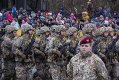 NATO soldiers at military parade in Riga, Latvia. November 18, 2017. Parade in honor of proclamation of Latvia at November 18 for the Independence Day royalty free stock photography