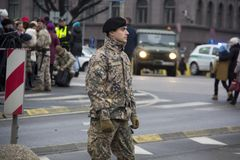 NATO soldiers at military parade in Riga, Latvia. Military army soldiers. November 18, 2017. Parade in honor of proclamation of Latvia at November 18 for the royalty free stock photo