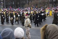 NATO soldiers at military parade in Riga, Latvia. November 18, 2017. Parade in honor of proclamation of Latvia at November 18 for the Independence Day royalty free stock images