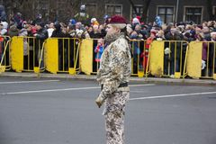 NATO soldiers at military parade in Riga, Latvia. Military army soldiers. November 18, 2017. Parade in honor of proclamation of Latvia at November 18 for the royalty free stock images