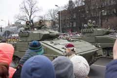 NATO tanks and soldiers at military parade in Riga, Latvia. November 18, 2017. Parade in honor of proclamation of Latvia at November 18 for the Independence Day stock photography