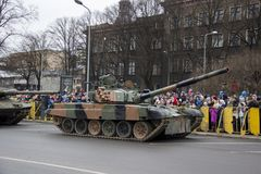 NATO tanks and soldiers at military parade in Riga, Latvia. November 18, 2017. Parade in honor of proclamation of Latvia at November 18 for the Independence Day stock photo