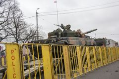 NATO tanks and soldiers at military parade in Riga, Latvia. Stock Images